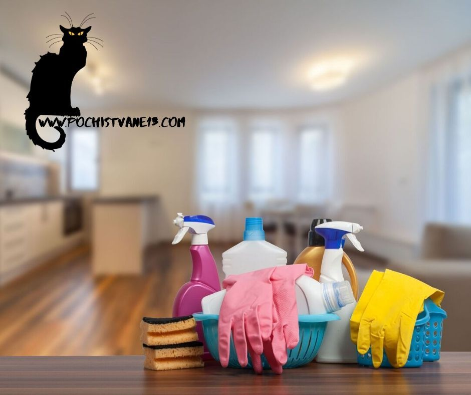 Дезинфекция на апартаменти, почистване и обработка на подове и повърхности с дезинфектант.